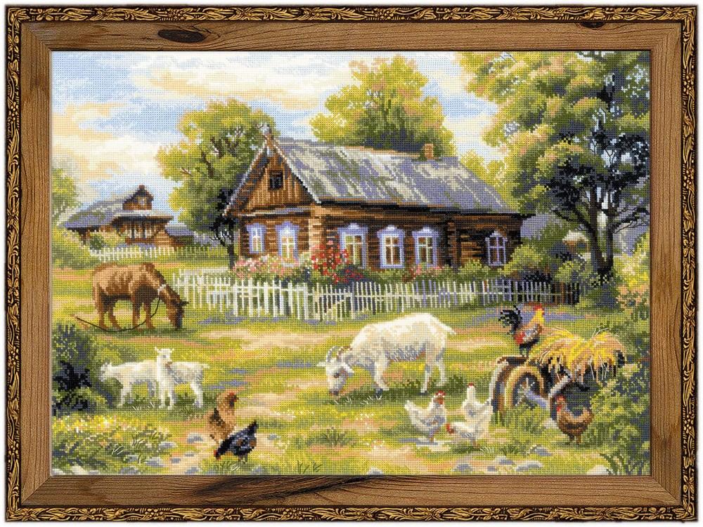 Деревенский пейзаж для вышивки