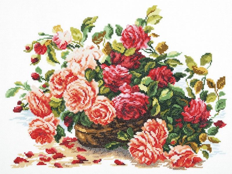 Вышивка крестом розы в корзине алиса 17