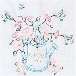 Ткань для вышивания  Лейка с цветами - фото 14577