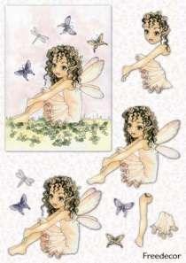 Декупажная карта 3D  Феечка с бабочками - фото 14856