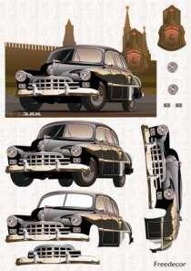 Декупажная карта 3D  Ретроавтомобиль черный - фото 14859