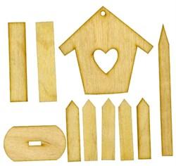 Скворечник с сердечком с подставкой с забором - фото 21283