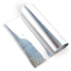 Трансферная поталь голографическая. Серебро ромбики - фото 22341