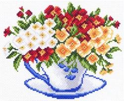 Рисунок на канве  Чашка с примулой - фото 24345