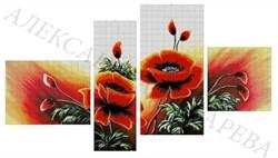 Набор для вышивки бисером полиптих  Маки - фото 26031