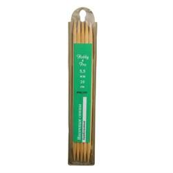 Cпицы Hobby&Pro носочные, бамбук, d5,5 мм, 20 см - фото 28353