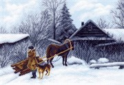 Рисунок на канве  Зима в деревне