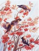 Рисунок на канве  Свиристели