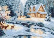 Рисунок на канве  Таежный домик