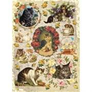 Рисовая бумага для декупажа  Коты в розах