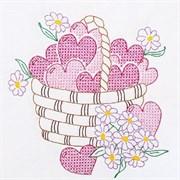 Ткань для вышивания  Корзина с сердечками