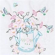 Ткань для вышивания  Лейка с цветами