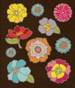 Наклейки  Цветы с фольгой
