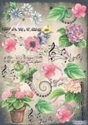 Скрап-карта  Цветы и ноты