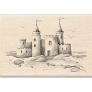 Штамп на деревянной основе Замок на песке