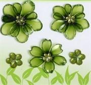 Витражные мини-цветы Зеленые