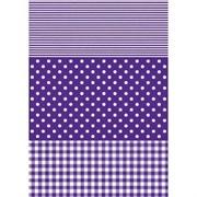 Бумага Decopatch полоска/горох/клетка фиолетовая
