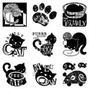 Набор силиконовых штампов с блоком Кошки