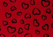 Фельт с рисунком красный Сердечки