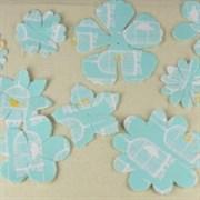 Цветы из ткани плоские Бирюзовые с принтом (Prima Marketing Inc)