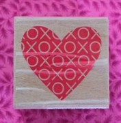 Штамп  Сердце , резиновый на деревянной основе