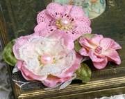 Цветы из ткани Розовые