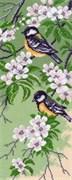 Рисунок на канве  Синички