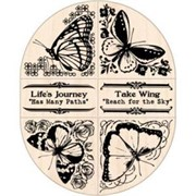 Набор штампов на деревянной основе Бабочки