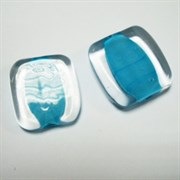 Бусина Голубое стекло
