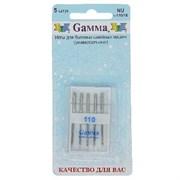 Иглы для бытовых швейных машин  Gamma  №110 для джинсы 5 шт.