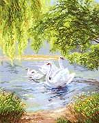 Набор для вышивания крестом  Лебеди