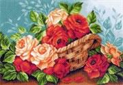Рисунок на канве  Розы в корзине
