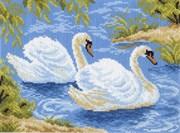 Рисунок на канве  Тундровые лебеди