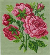 Рисунок на канве  Розовые цветы