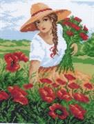 Рисунок на канве  Девушка с маками
