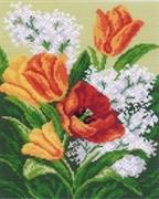 Рисунок на канве  Первые цветы