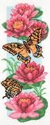 Рисунок на канве  Бабочки и нимфеи