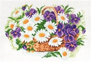 Рисунок на канве  Ромашки и виола