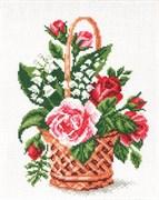 Рисунок на канве  Корзина с цветами