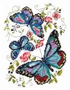 Набор для вышивания крестом  Синие бабочки