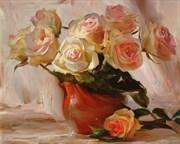 Набор для рисования по номерам  Розы в глиняной вазе