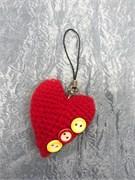 Брелок  сердечко вязаное