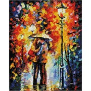 Картина стразами  Поцелуй под дождём