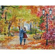 Картина стразами  Осенний парк, скамейка, двое