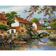 Картина стразами  Деревенька у канала