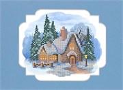 Набор для вышивания с бисером и паспарту  Пряничный домик