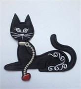 Термоаппликация  Кошка с ошейником и цепью , 9 * 7 см