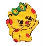 Термоаппликация  Кошка с бантиком желтый