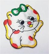 Термоаппликация  Кошка с бантиком белая ,  7,5 * 6,5 см