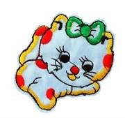 Термоаппликация  Кошка с бантиком голубая ,  5,5 * 6,5 см